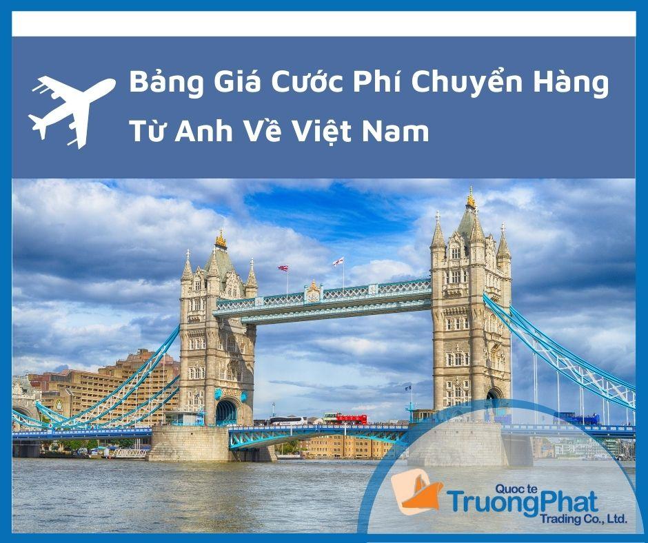 Bảng giá cước phí chuyển hàng từ Anh về Việt Nam Mới Nhất